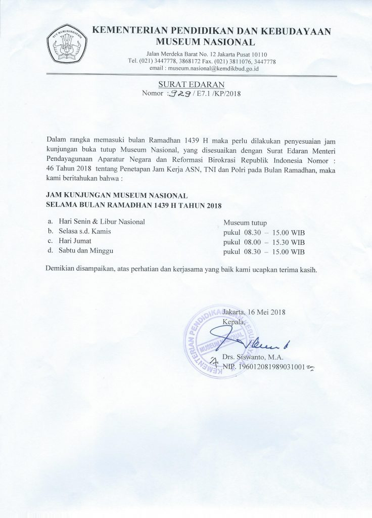 Surat Edaran tentang Jam pelayanan museum selama bulan ramadan